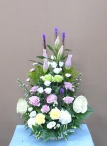 ユリとトルコキキョウのお供え花