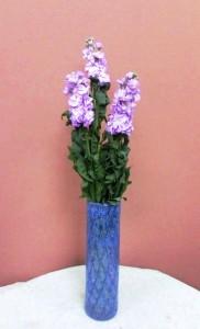 岩田ガラスシリーズ【39】ブルーのうろこ模様の花瓶02
