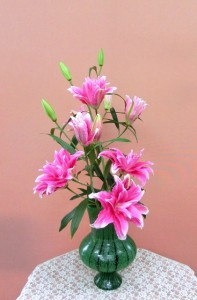 岩田ガラスシリーズ【60】深緑色の黒縞模様の花瓶02