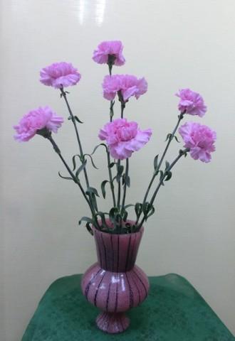 岩田ガラスシリーズ【45】躑躅色(ツツジ色)の花瓶02