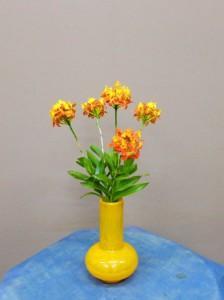 岩田ガラスシリーズ【81】幸せを呼ぶ黄色の花瓶とエビデンドラム01