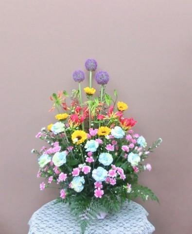 【アレンジメント】引っ越しのお祝いに色とりどりのお花をプレゼント♪01