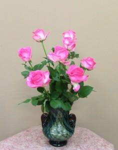 岩田ガラスシリーズ【43】網目模様のあるターコイズブルー色の花瓶02
