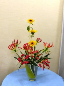 岩田ガラス・黄色いラインの花瓶