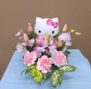 卒園祝いにキティちゃんと春の花のバルーンフラワー