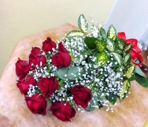 【花束】フラワーバレンタイン「赤バラの花束」